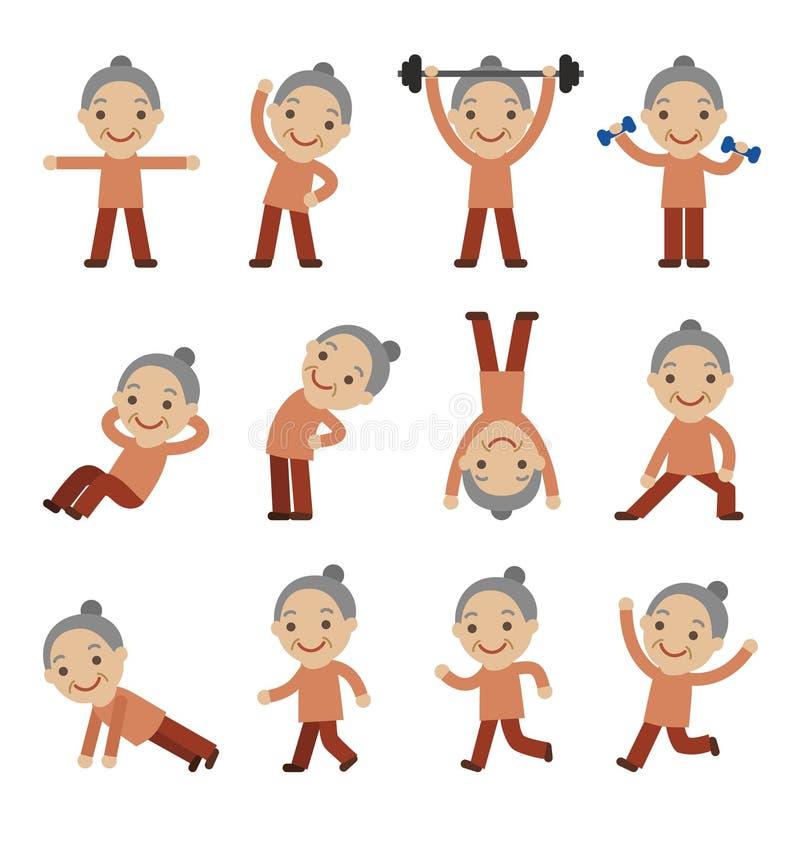 Esercitazione, salute e forma fisica senior della donna illustrazione di stock