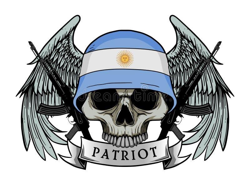 Esercito del cranio che indossa il casco della bandiera dell'ARGENTINA royalty illustrazione gratis
