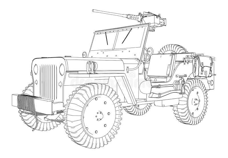 Esercito Jeep Vector royalty illustrazione gratis