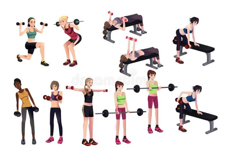 Esercizi delle donne con i pesi royalty illustrazione gratis