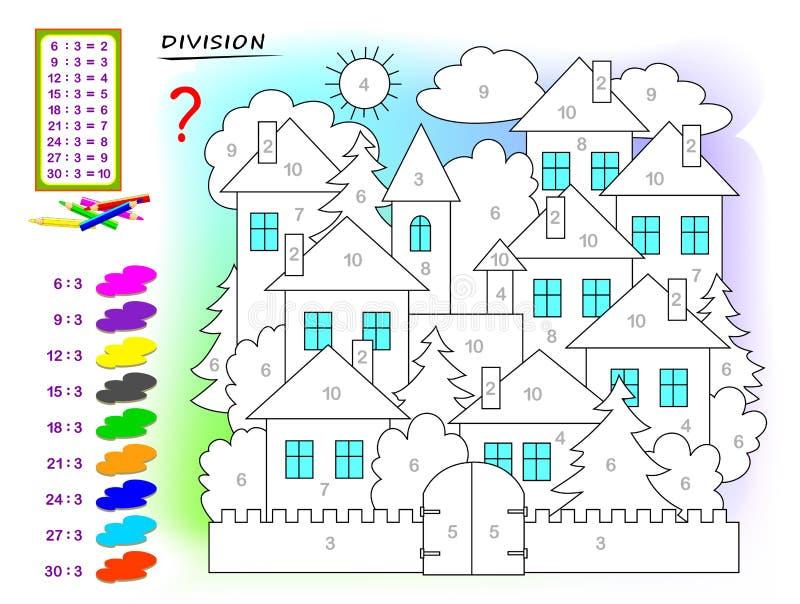 Esercizi per i bambini con divisione dal numero 3 Dipinga l'immagine Pagina educativa per il libro del bambino di matematica illustrazione di stock