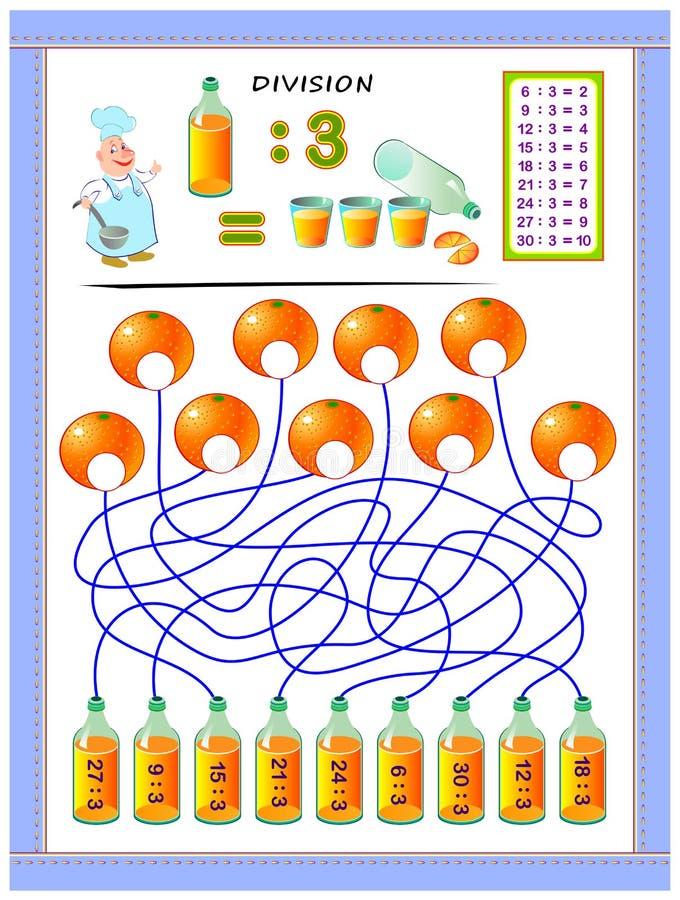 Esercizi per i bambini con la tavola di divisione dal numero 3 Risolva gli esempi e scriva le risposte sulle arance illustrazione vettoriale
