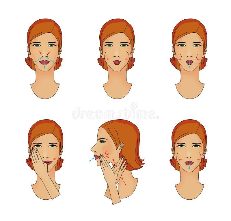 Esercizi respiranti e muscoli facciali di massaggio Giovane donna che lotta con l'età illustrazione di stock