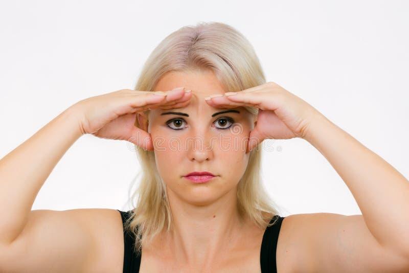 Esercizio del fronte per il binocolo della pelle immagini stock libere da diritti