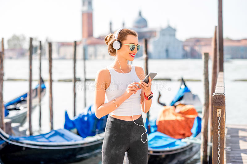 Esercizio di mattina a Venezia fotografia stock libera da diritti