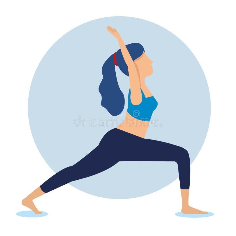 Esercizio di yoga di pratica della donna di forma fisica royalty illustrazione gratis