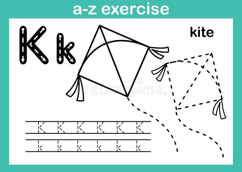 Esercizio di a-z di alfabeto con vocabolario del fumetto per il libro da colorare illustrazione di stock