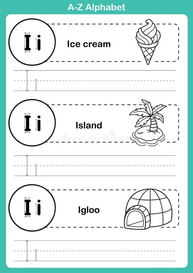 Esercizio di a-z di alfabeto con vocabolario del fumetto per il libro da colorare royalty illustrazione gratis