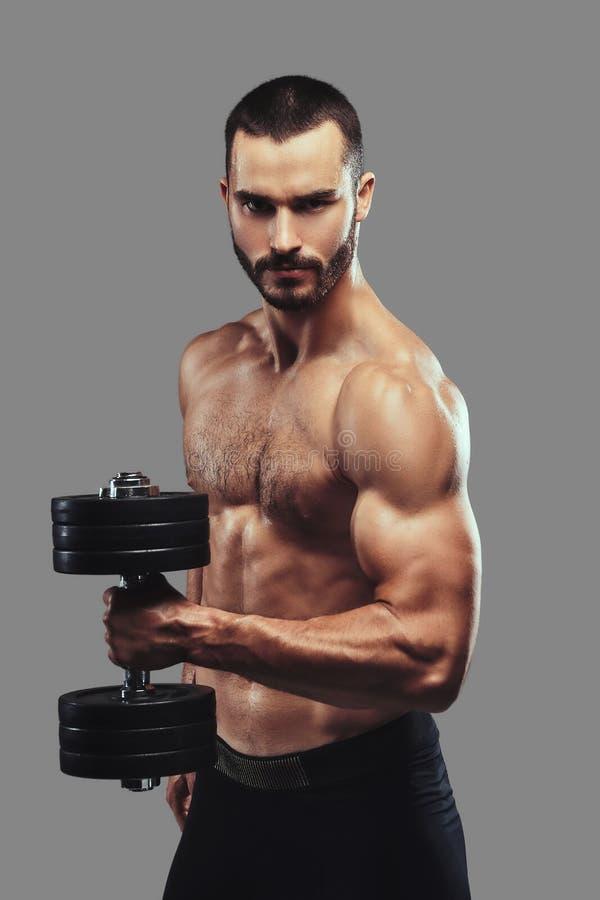 Esercizio facente maschio senza camicia barbuto atletico brutale con dumbb fotografia stock