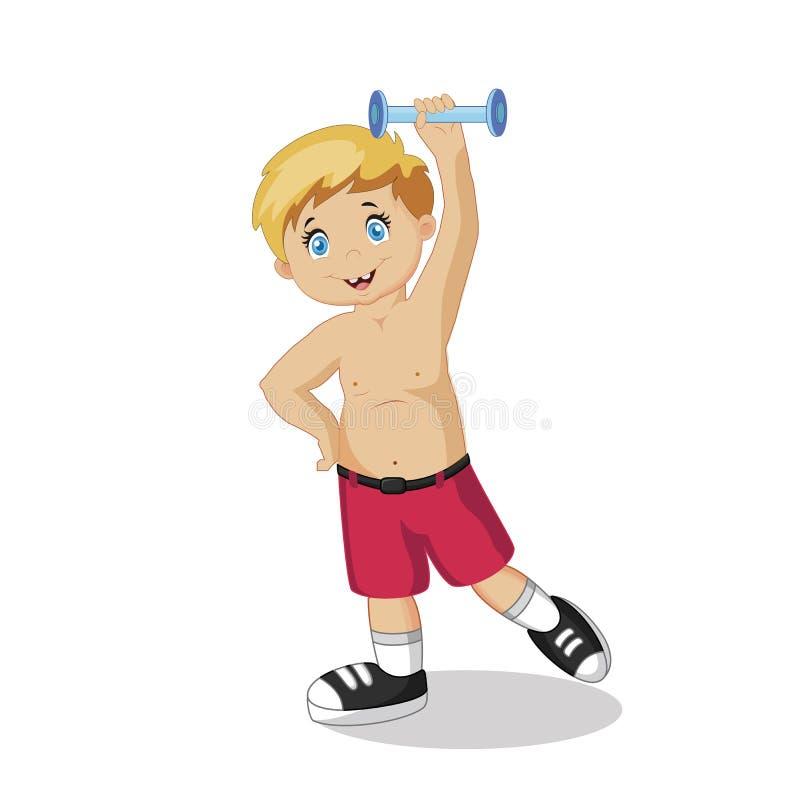 Esercizio felice del ragazzo con lo stile di vita sano della testa di legno illustrazione di stock