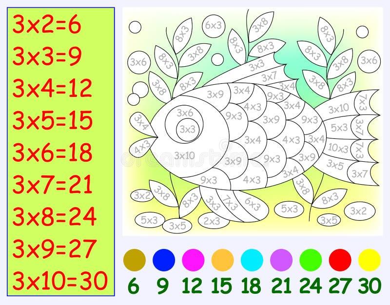 Esercizio per i bambini con moltiplicazione da tre Necessità di dipingere immagine nel colore pertinente royalty illustrazione gratis