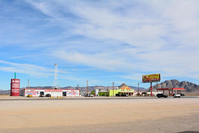 Desert truck stop in Amargosa Valley with Area 51 Alien Center. Amargosa Valley, Nevada, United States of America - November 24, 2017. Desert truck stop in royalty free stock photos