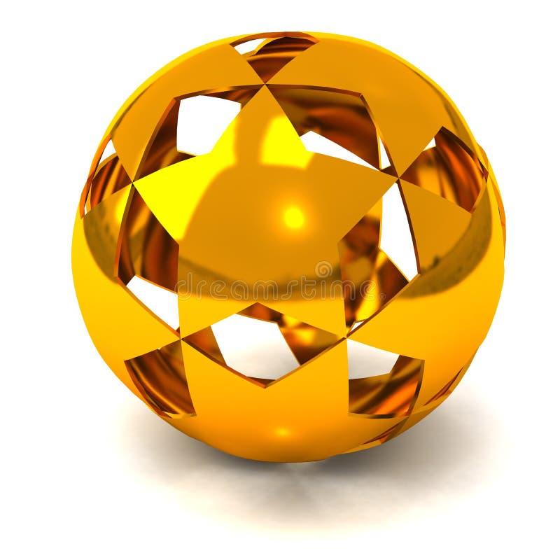 Esfera 3d da estrela do ouro ilustração do vetor