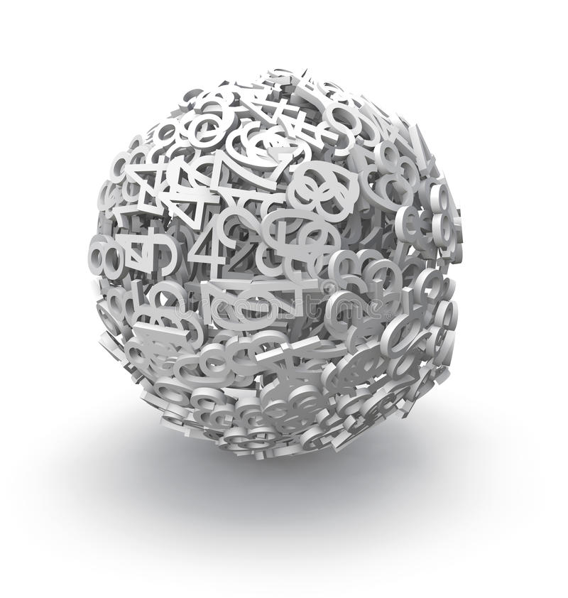 esfera 3d dos números ilustração royalty free