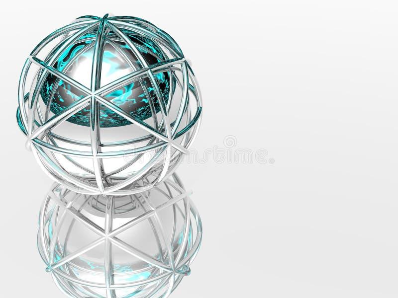 esfera 3d na estrutura de prata ilustração stock