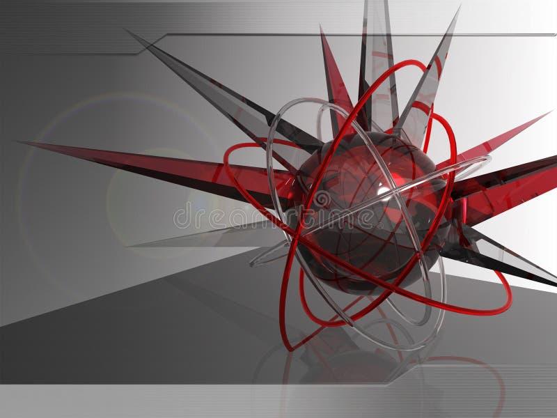 esfera 3D vermelha de cristal ilustração stock