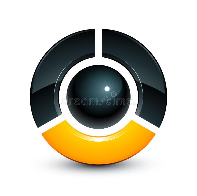 esfera 3D y pedazos quebrados stock de ilustración