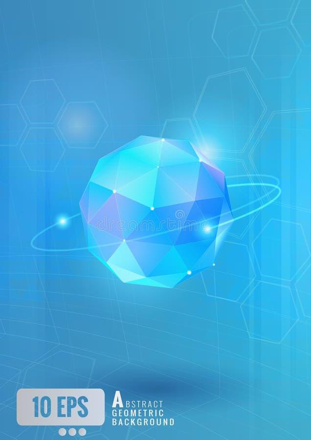 Esfera abstracta con la tecnología conceptual en BG azul ilustración del vector