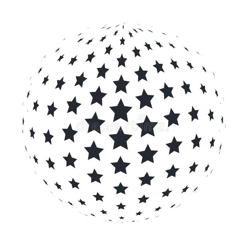 Esfera abstracta 3D con las estrellas de 5 puntos Ilustración del vector libre illustration