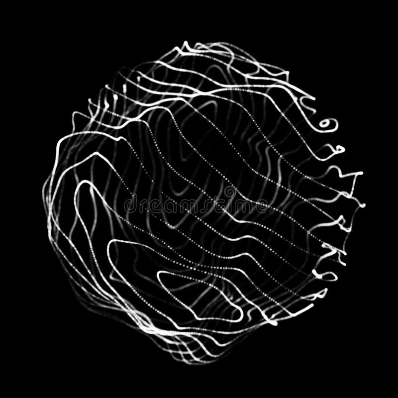 Esfera abstracta 3d Esfera con las l?neas de la torsi?n L?neas que brillan intensamente que tuercen dise?o del logotipo Objeto de libre illustration