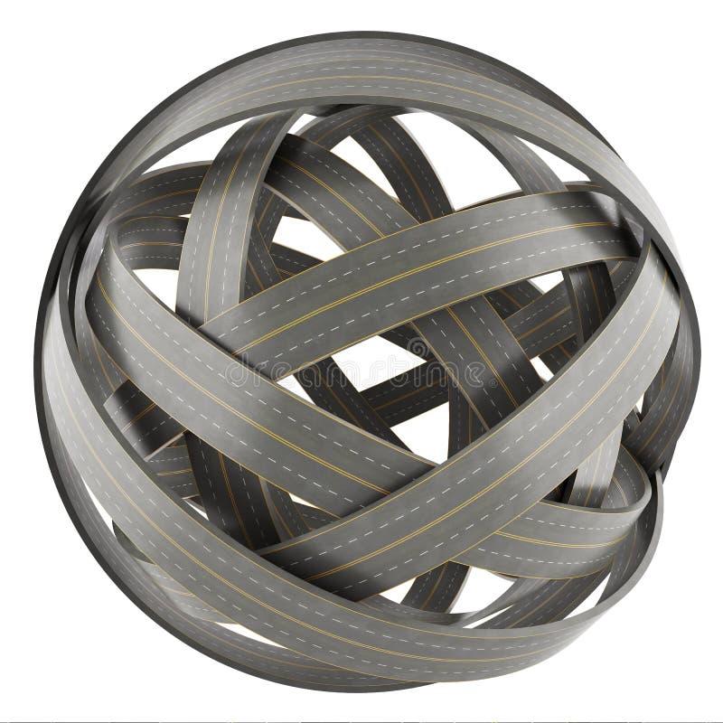 Esfera abstracta de caminos enredados, aislada encendido libre illustration