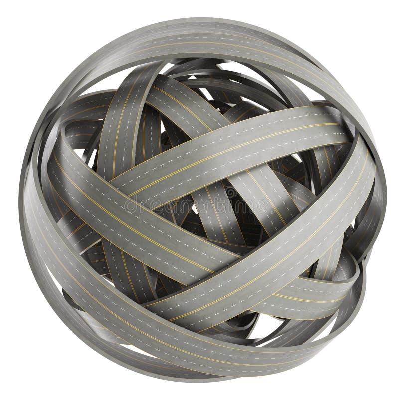 Esfera abstracta de caminos enredados, en el fondo blanco libre illustration