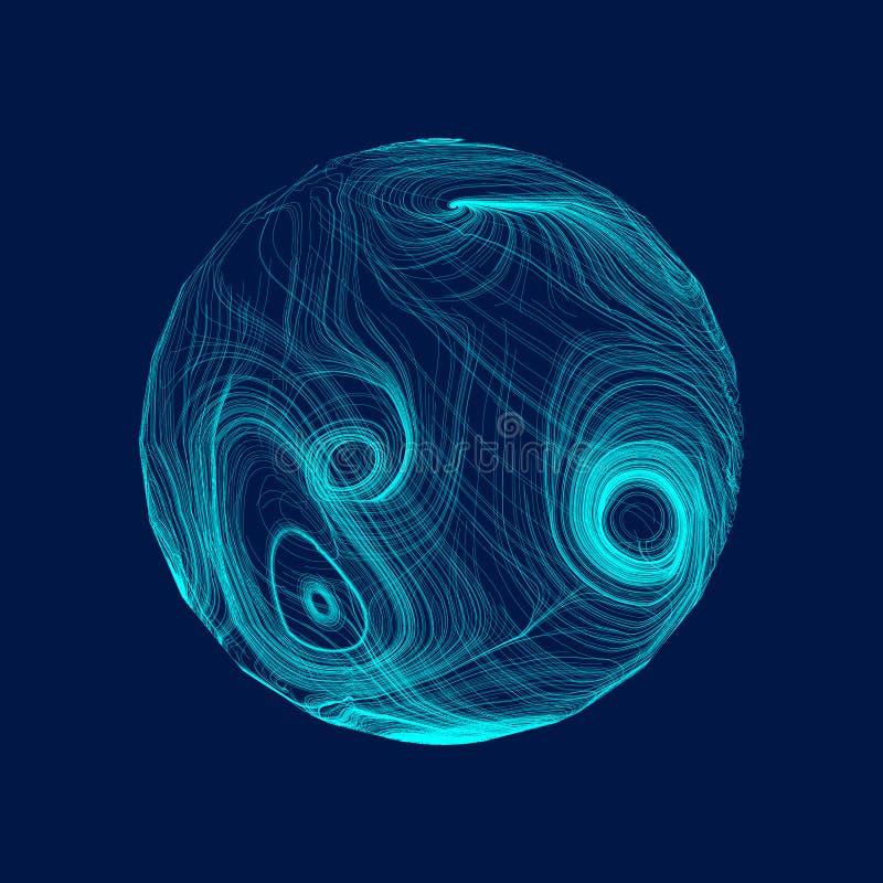 Esfera abstracta de líneas curvadas coloridas Vector stock de ilustración