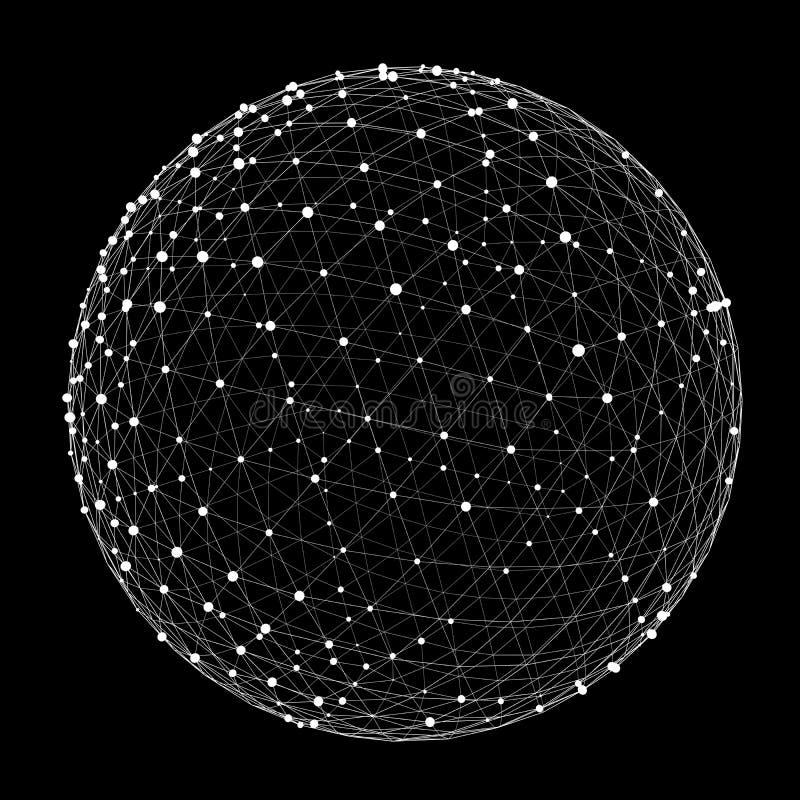 Esfera abstracta del web de la conexión con el punto y las líneas representación de 3D ilustración del vector
