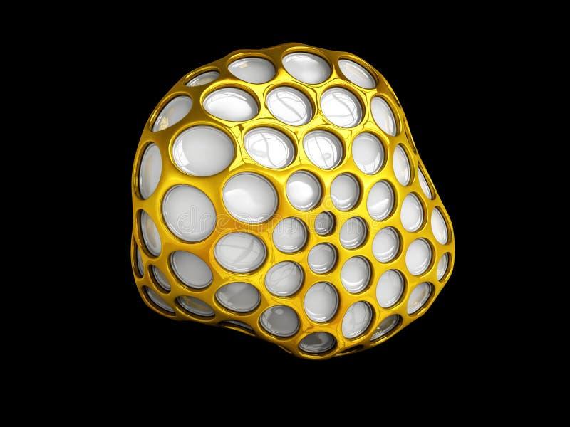 Esfera abstracta del wireframe del oro Negro aislado ilustración 3D ilustración del vector