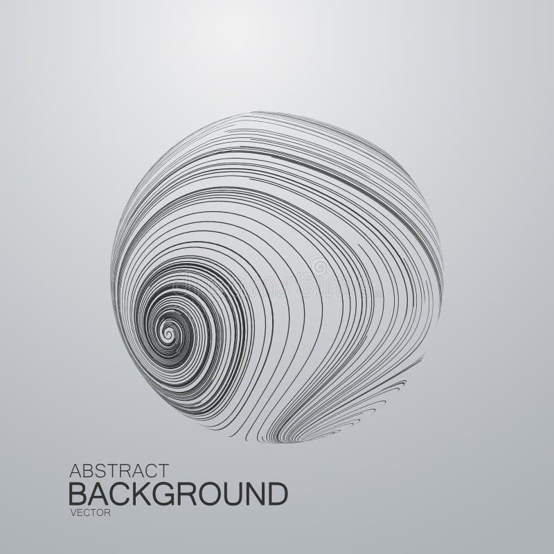 Esfera abstrata da onda 3D com listras rodadas ilustração stock