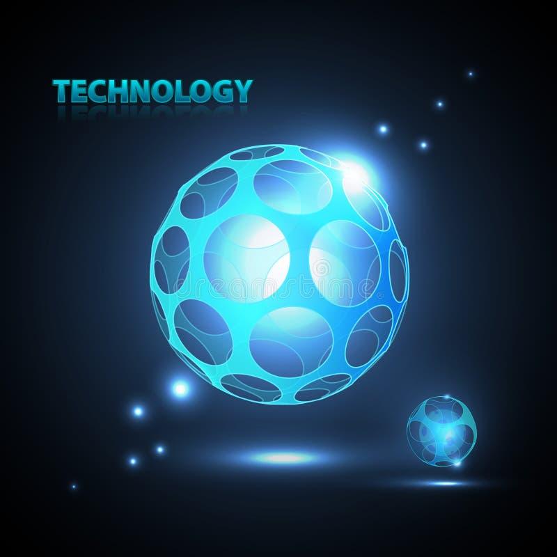 Esfera abstrata da tecnologia 3d. ilustração stock