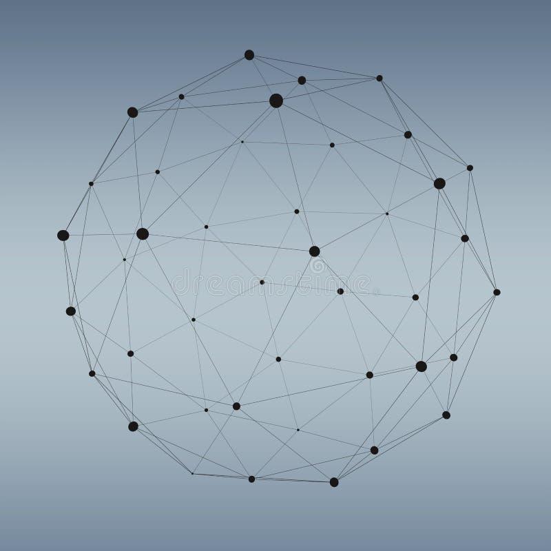 Esfera abstrata da Web da conexão com ponto e linhas rendição de 3D ilustração do vetor