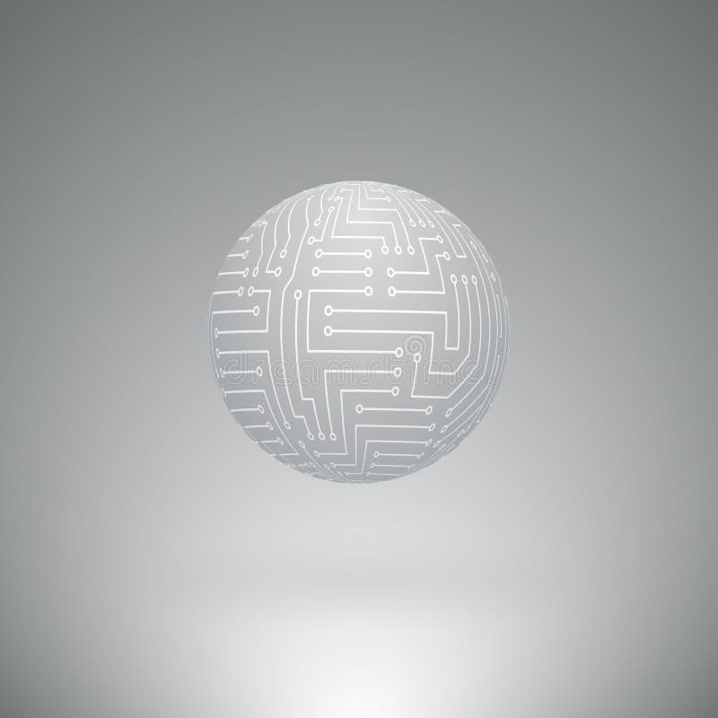 Esfera abstrata de circuitos eletrônicos ilustração royalty free