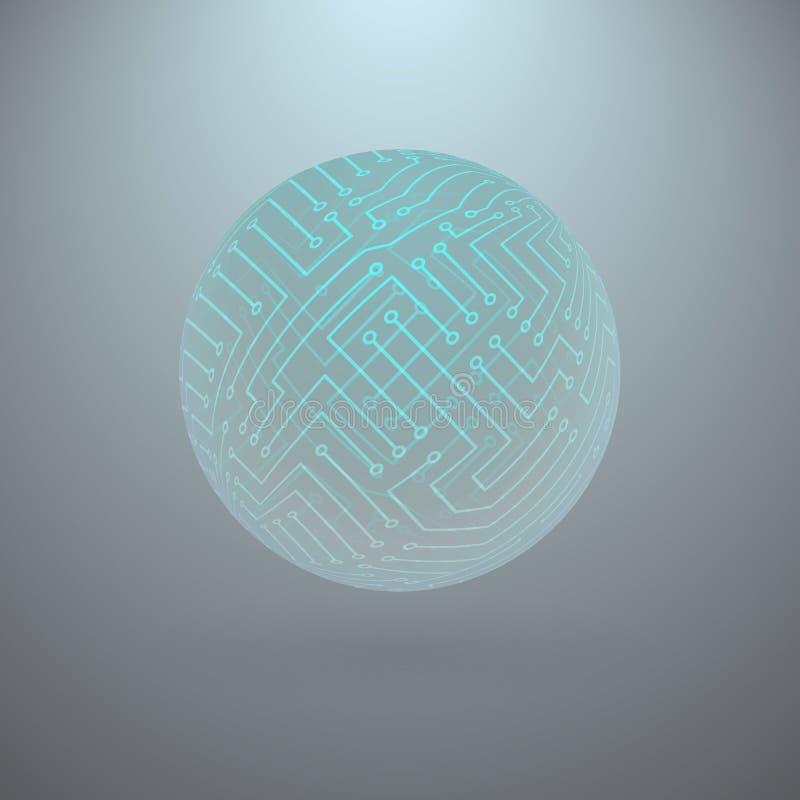 Esfera abstrata de circuitos eletrônicos ilustração do vetor