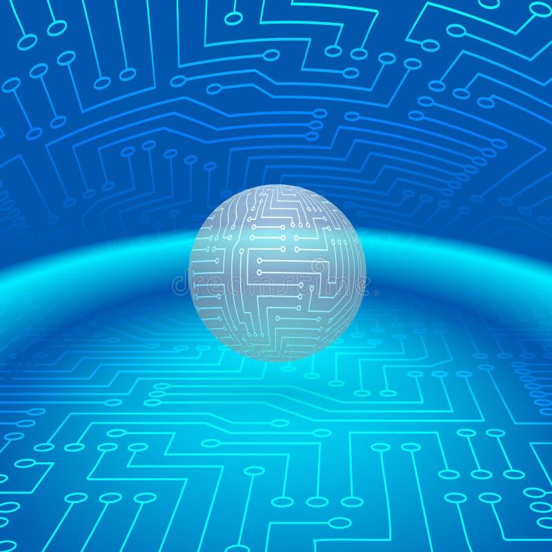 Esfera abstrata de circuitos eletrônicos ilustração stock