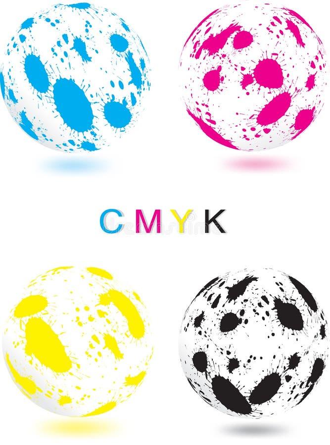 Esfera abstrata de CMYK ilustração stock