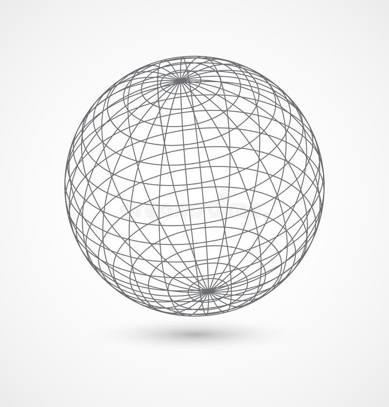 Esfera abstrata do globo das linhas cinzentas no branco ilustração stock