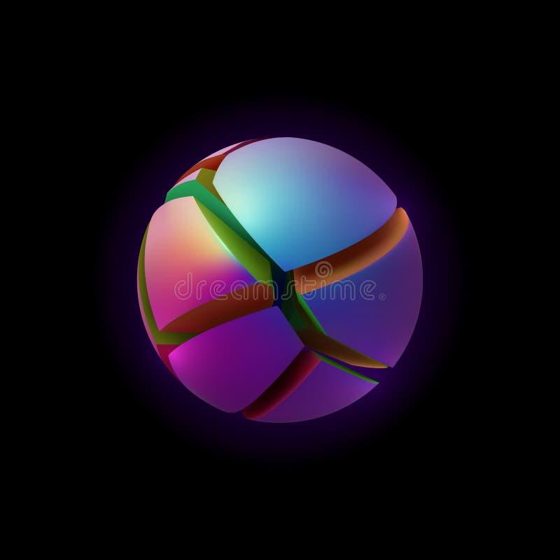 Esfera abstrata fraturada iridescente ilustração stock