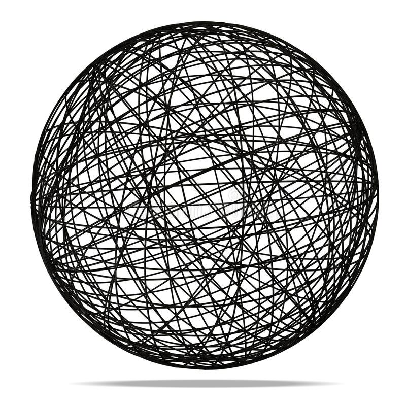 Esfera abstrata preta no fundo branco ilustração royalty free