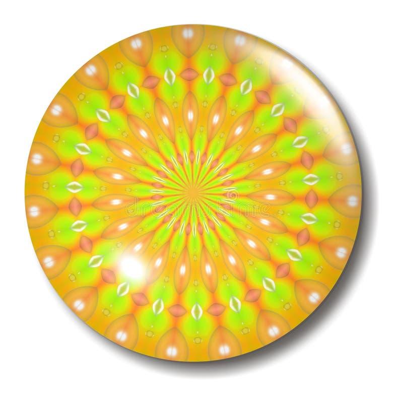 Esfera alaranjada amarela da tecla da flor ilustração royalty free