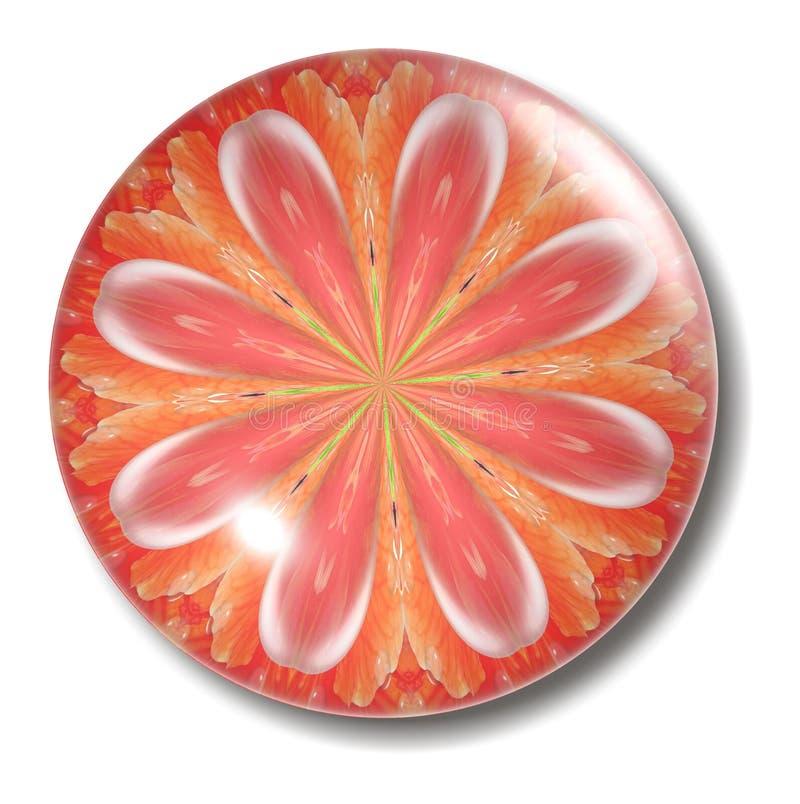 Esfera alaranjada da tecla da flor ilustração stock