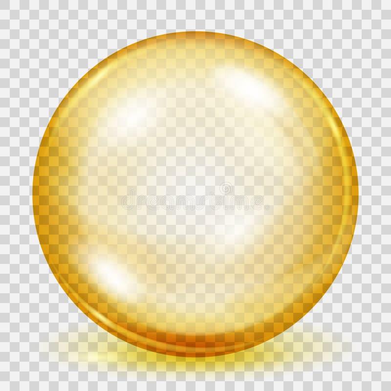 Esfera amarilla transparente con la sombra ilustración del vector