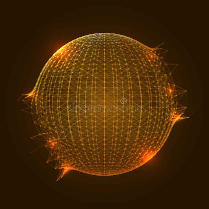 Esfera anaranjada Mesh Exploding stock de ilustración