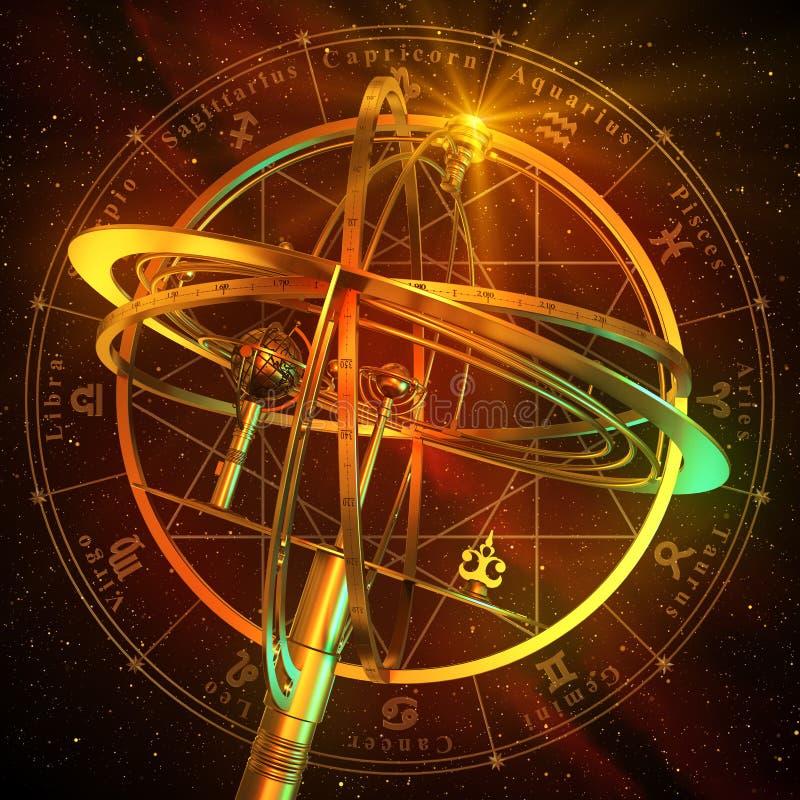 Esfera Armillary com símbolos do zodíaco sobre o fundo vermelho ilustração stock