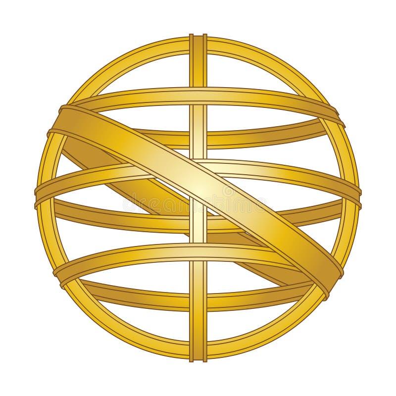 Esfera armillary do dispositivo da navegação do vintage do símbolo ilustração stock