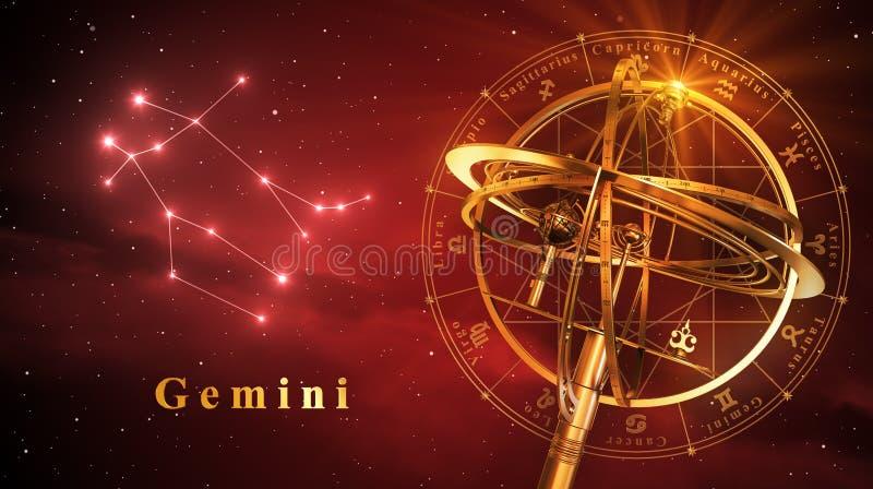 Esfera Armillary e constelação Gemini Over Red Background ilustração royalty free