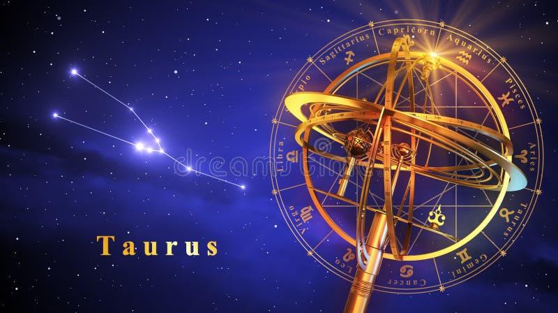 Esfera Armillary e constelação Taurus Over Blue Background ilustração royalty free