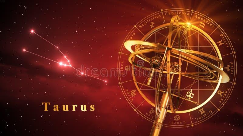 Esfera Armillary e constelação Taurus Over Red Background ilustração do vetor