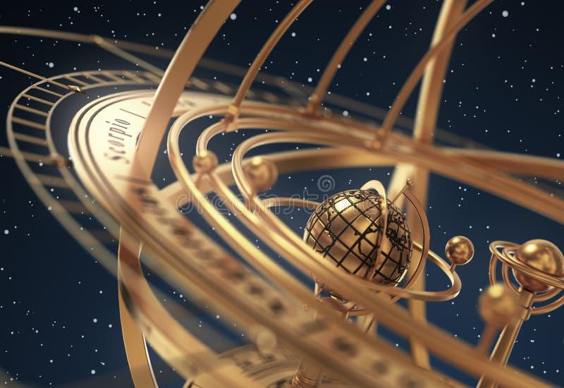 Esfera Armillary no fundo azul ilustração do vetor
