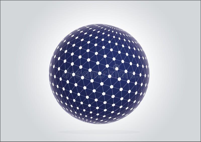 esfera azul 3d con la muestra de la tecnología del globo de la red ilustración del vector